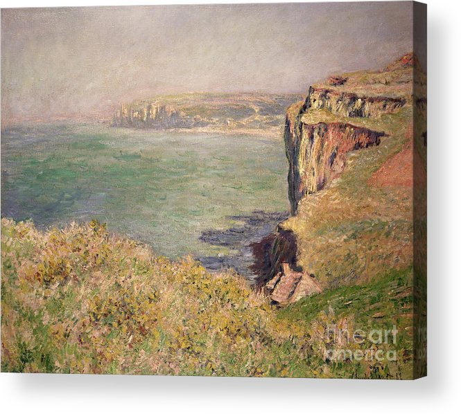 Cliff Acrylic Print featuring the painting Cliff At Varengeville by Claude Monet