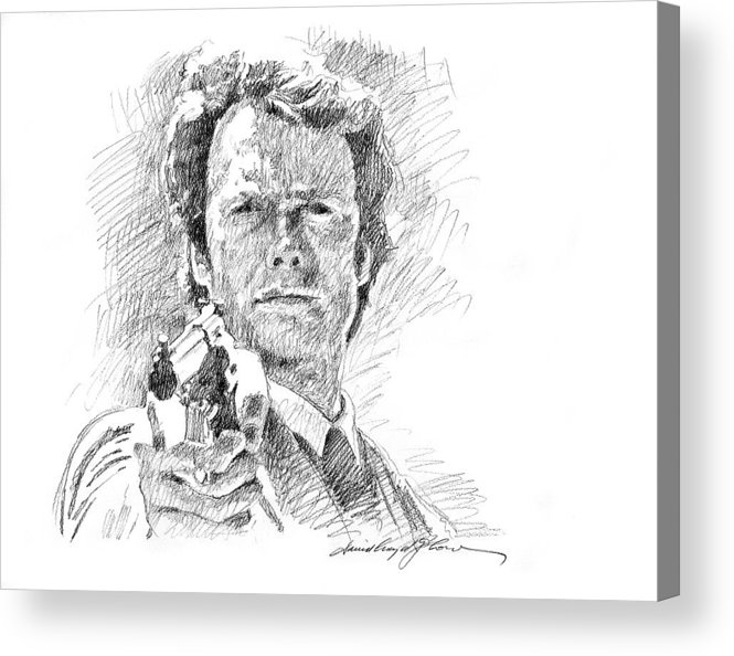 Clint Eastwood Acrylic Print featuring the drawing Clint Eastwood As Callahan by David Lloyd Glover