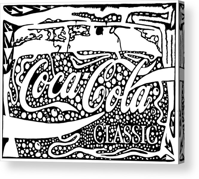 Coca Acrylic Print featuring the drawing Coca-cola Maze Advertisement by Yonatan Frimer Maze Artist