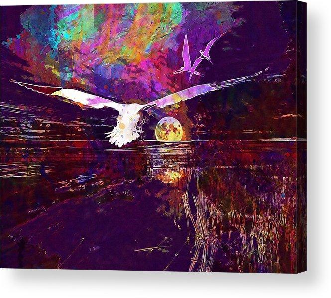 Composing Landscape Moon Birds Acrylic Print by PixBreak Art