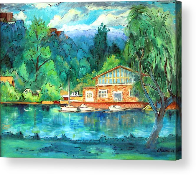 Cauga Lake Acrylic Print featuring the painting Cornell Boathouse by Ethel Vrana