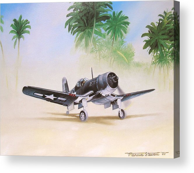 Aviation Acrylic Print featuring the painting Corsair Preflight by Marc Stewart