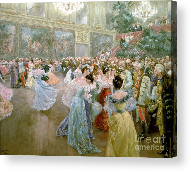 Court Ball At The Hofburg Acrylic Print featuring the painting Court Ball At The Hofburg by Wilhelm Gause