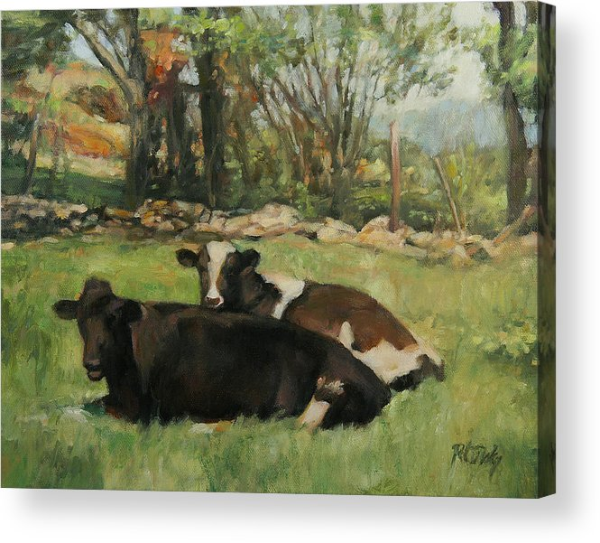 Cow Acrylic Print featuring the painting Cow Buddies by Robert Tutsky