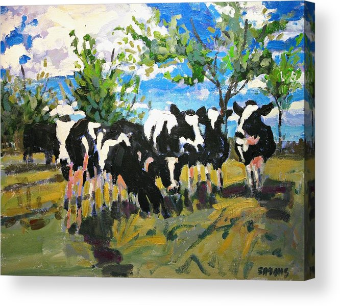 Landscape Acrylic Print featuring the painting Cowscape by Brian Simons