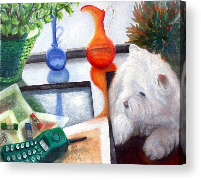 Dog Acrylic Print featuring the painting Creative Reflections by Minaz Jantz