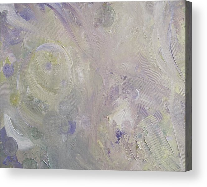 Abstract Acrylic Print featuring the painting Crop Circles In Purple And Green by Martha Thompson