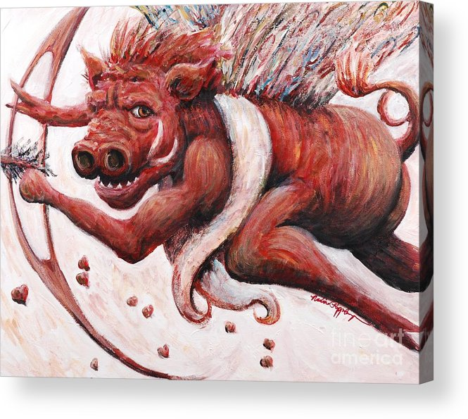 Pig Acrylic Print featuring the painting Cupig by Nadine Rippelmeyer