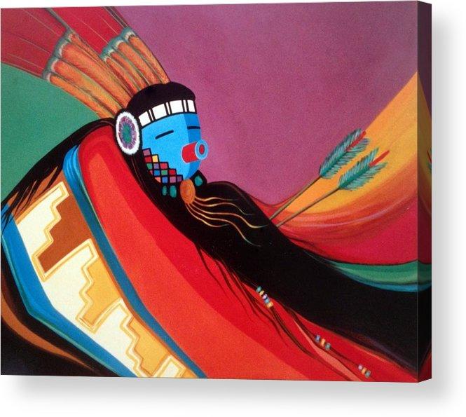 Kachina Acrylic Print featuring the painting Custom Kachina by Marlene Burns