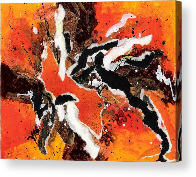 Abstract Acrylic Print featuring the painting Cyhm Orange by Tara Milliken