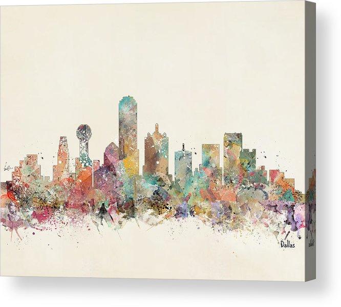 Dallas Texas Acrylic Print featuring the painting Dallas City by Bri Buckley