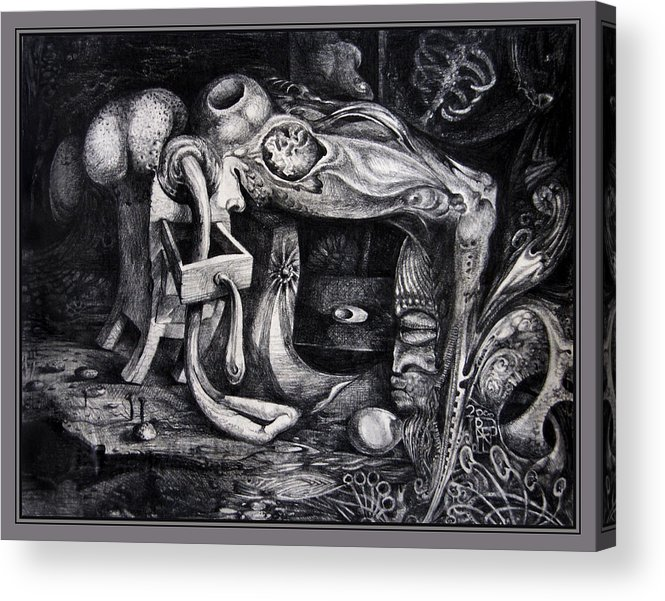 Drawing Acrylic Print featuring the drawing Dark Surprise by Otto Rapp