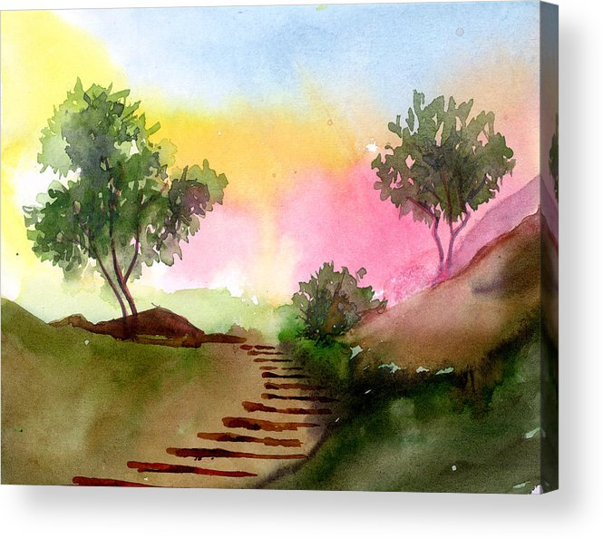 Landscape Acrylic Print featuring the painting Dawn by Anil Nene