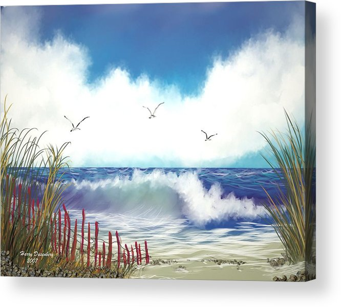 Sea Acrylic Print featuring the painting Day At The Beach by Harry Dusenberg