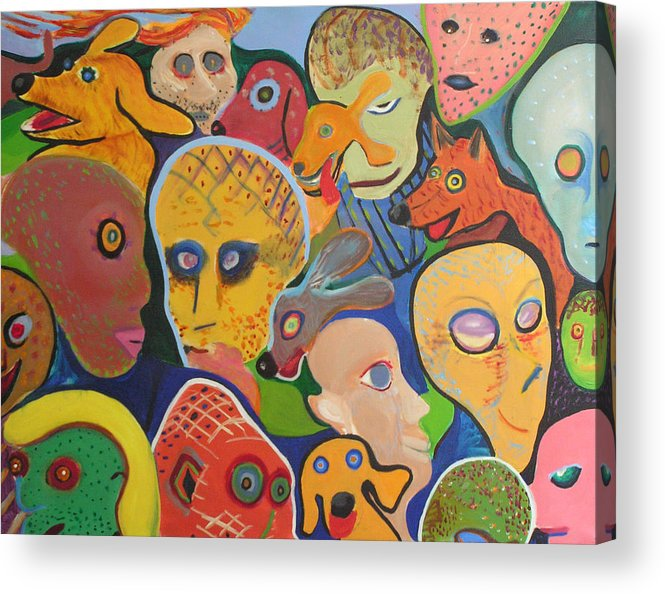 Oil Acrylic Print featuring the painting Dogs-aliens-people- And Other Strangers by Mark Sharer