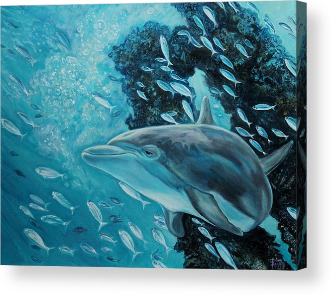 Underwater Scene Acrylic Print featuring the painting Dolphin With Small Fish by Diann Baggett