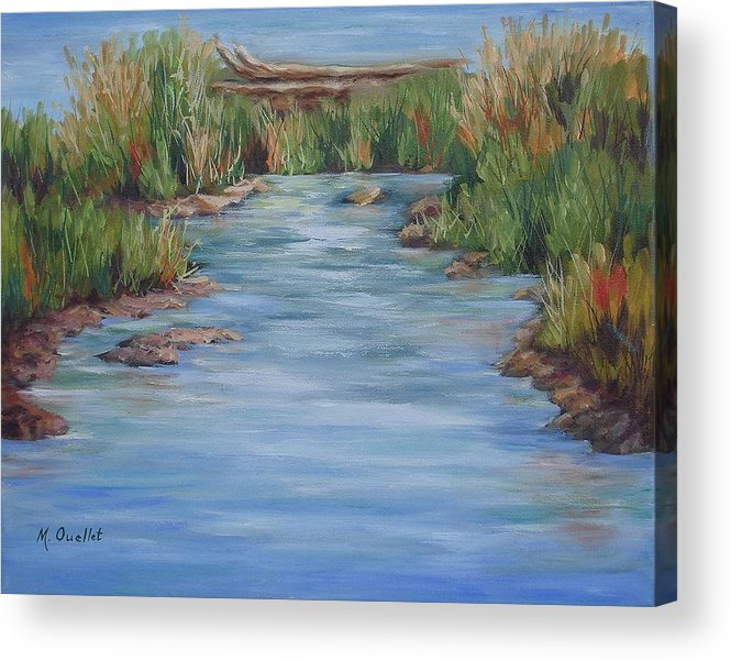 Landscape Acrylic Print featuring the painting Downstream by Maxine Ouellet