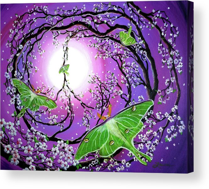 Acrylic Painting Acrylic Print featuring the painting Drawn To The Light by Laura Iverson