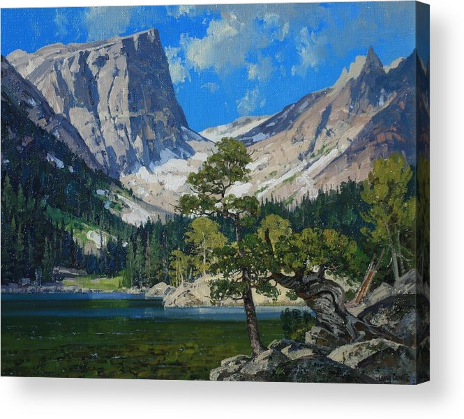 Landscape Acrylic Print featuring the painting Dream Lake by Lanny Grant