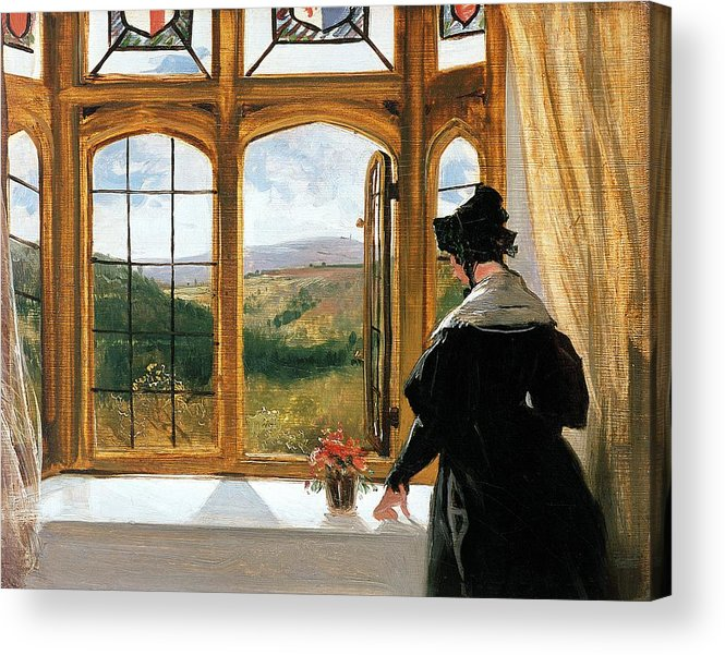 Duchess Of Abercornduchess Of Abercorn Looking Out Of A Window By Sir Edwin Landseer (1802-73) Acrylic Print featuring the painting Duchess Of Abercorn Looking Out Of A Window by Sir Edwin Landseer
