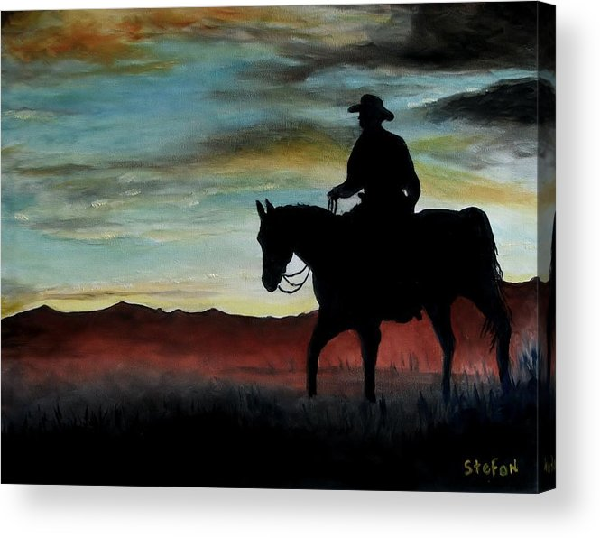 Cowboy Acrylic Print featuring the painting Early Morning Ride by Stefon Marc Brown