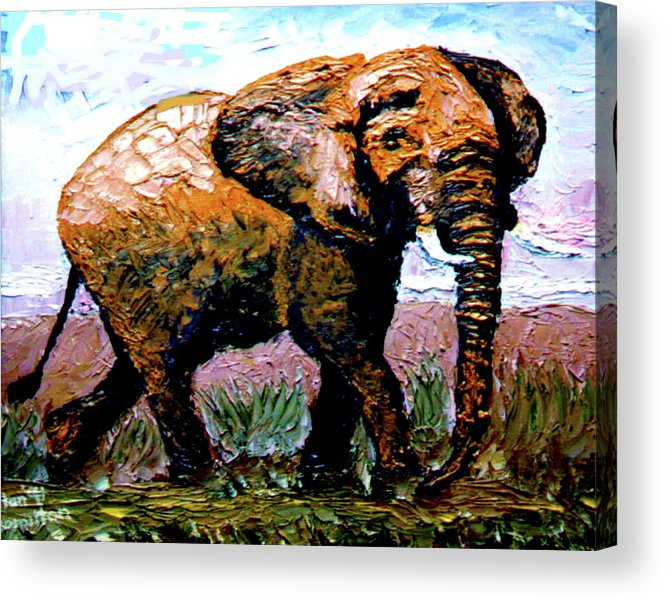 Elephant Acrylic Print featuring the painting Elephant by Stan Hamilton