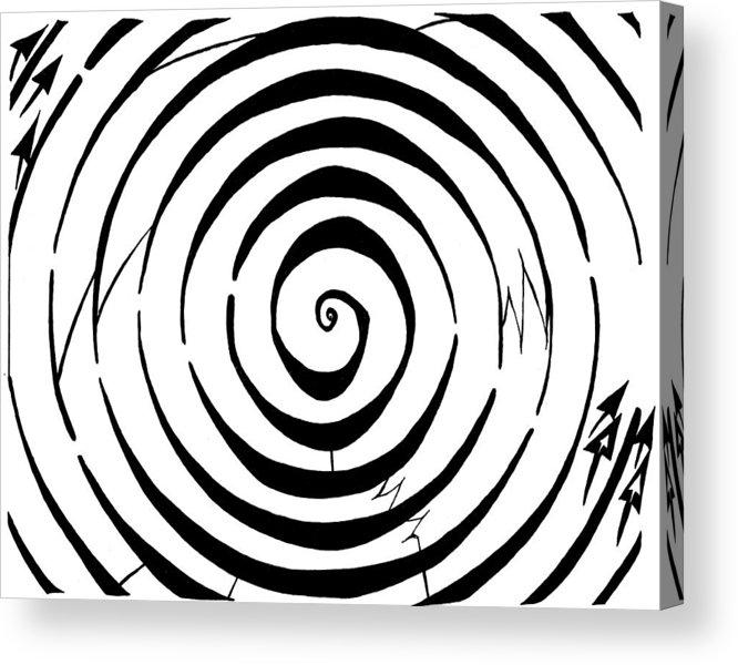 Maze Acrylic Print featuring the drawing Eliptical Maze by Yonatan Frimer Maze Artist