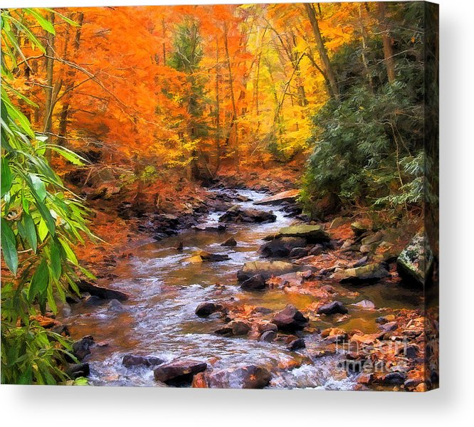 Fall Acrylic Print featuring the digital art Fall Fire by Randy Steele