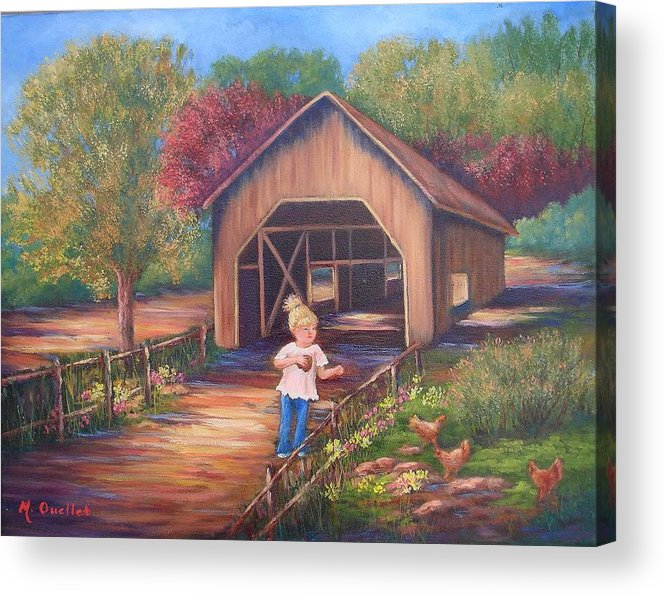 Landscape Acrylic Print featuring the painting Feeding Time by Maxine Ouellet