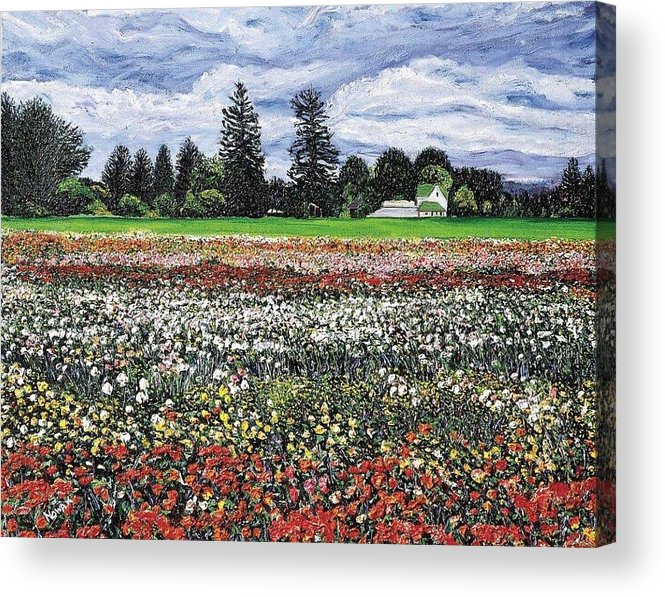 Flowers Acrylic Print featuring the painting Field Of Flowers by Richard Nowak