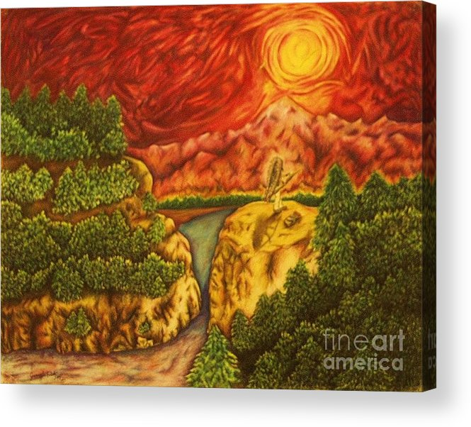 Sun Acrylic Print featuring the drawing Fire In The Sky by Jamey Balester