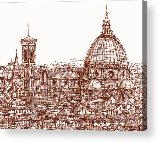 Florence Acrylic Print featuring the drawing Florence Duomo In Red by Adendorff Design