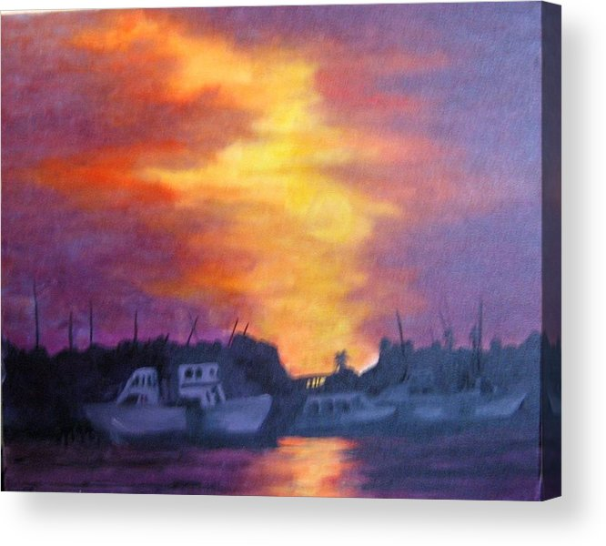 Sunset Acrylic Print featuring the painting Florida Keyes Sunset by Colleen DalCanton