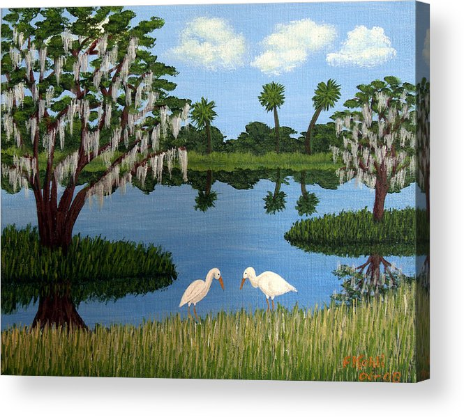 Landscape Paintings Acrylic Print featuring the painting Florida Wetlands by Frederic Kohli