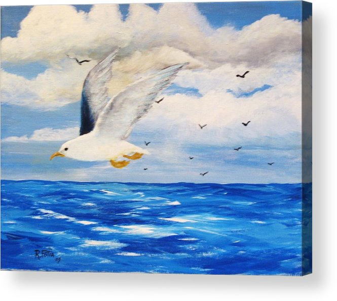 Seagulls Acrylic Print featuring the painting Following Sea by Rich Fotia