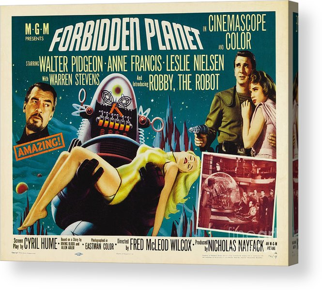 Forbidden Planet Acrylic Print featuring the painting Forbidden Planet In Cinemascope Retro Classic Movie Poster by R Muirhead Art
