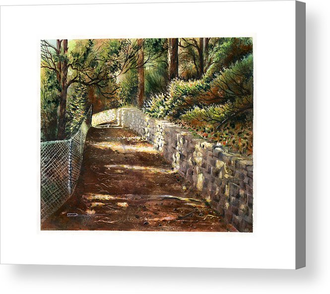 Landscape Acrylic Print featuring the painting Forest Path White Cliff by Dumitru Barliga