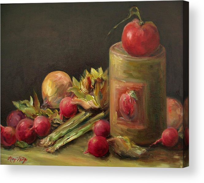 Still Life Acrylic Print featuring the painting Freshly Picked by Mary Wolf