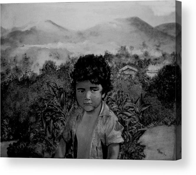 Boy Acrylic Print featuring the painting Fumigando Al Nino by Fernando Armel