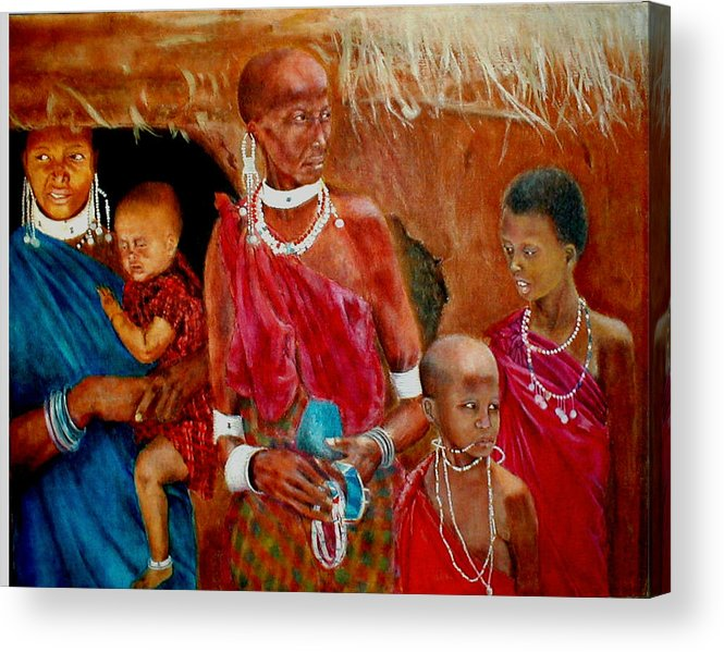 Maasai Acrylic Print featuring the painting Generations3 by G Cuffia