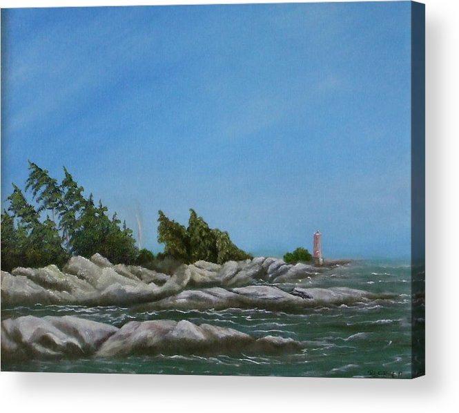 Landscape Acrylic Print featuring the painting Georgian Bay by Rebecca Fitchett