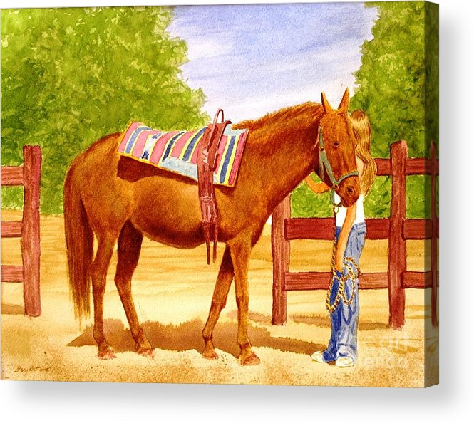 Equine Acrylic Print featuring the painting Girl Talk by Stacy C Bottoms