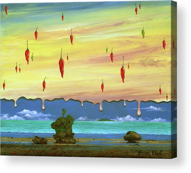 Surreal Painting Acrylic Print featuring the painting Global Meltdown by Sharon Ebert