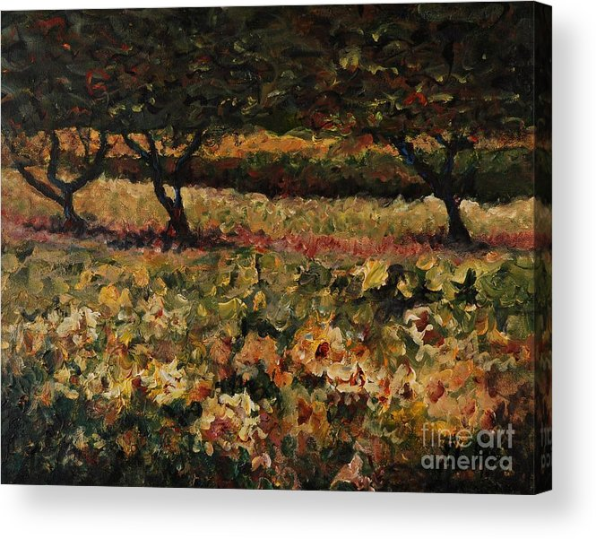 Landscape Acrylic Print featuring the painting Golden Sunflowers by Nadine Rippelmeyer