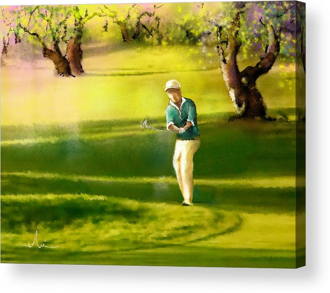 Sports Acrylic Print featuring the painting Golf In Spain Castello Masters 02 by Miki De Goodaboom