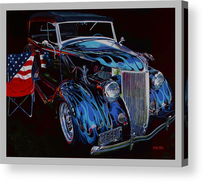 1936 Ford Phaeton Car Automobile Flame Paint American Flag Beer Iraq Hot Rod Roadster Blue Black V8 Acrylic Print featuring the painting Gone To Iraq by Mike Hill