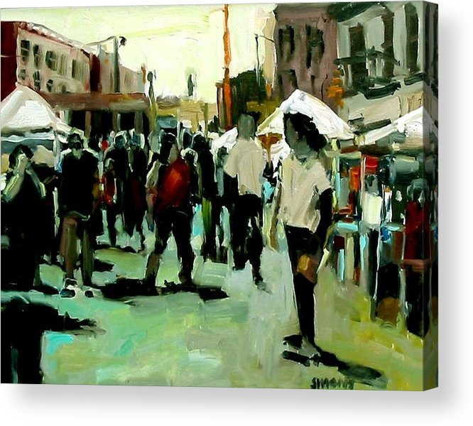 Cityscape Paintings Acrylic Print featuring the painting Government Street by Brian Simons