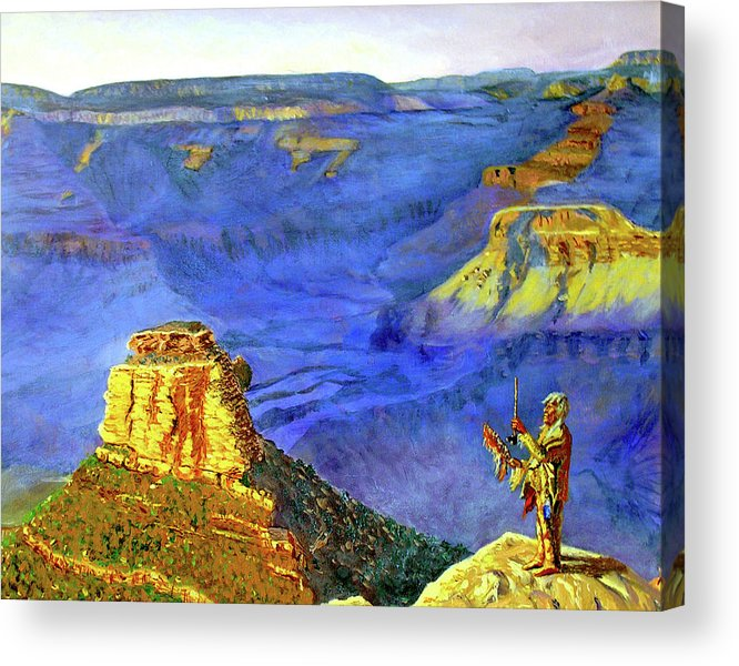 Original Oil On Canvas Acrylic Print featuring the painting Grand Canyon V by Stan Hamilton