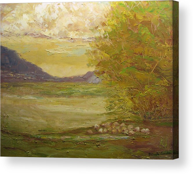 Landscape Acrylic Print featuring the painting Grazing Sheep New Mexico Usa by Belinda Consten