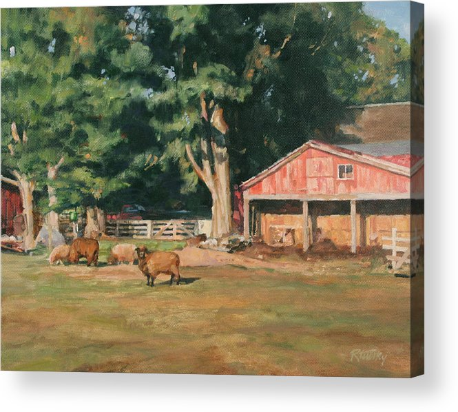 Sheep Acrylic Print featuring the painting Grazing Sheep by Robert Tutsky